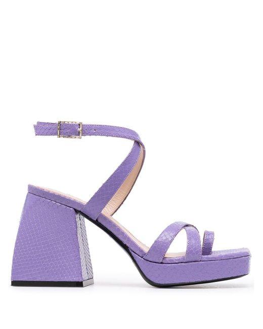 NODALETO Purple Bulla Siller Snakeskin-effect Sandals
