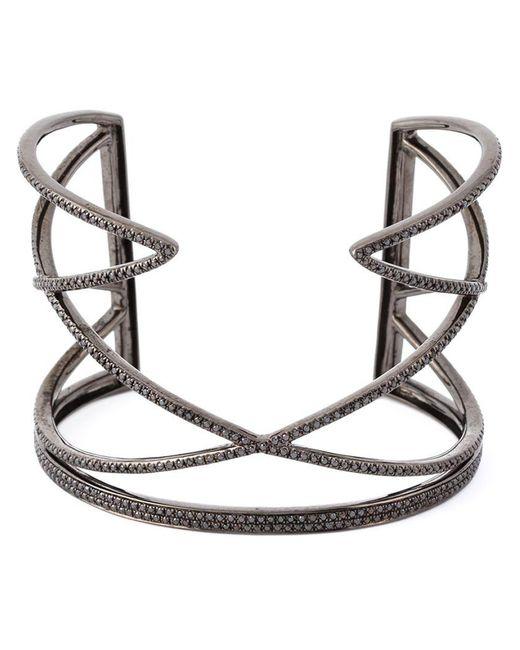 Joelle Jewellery - Black Geometric Diamond Cuff - Lyst