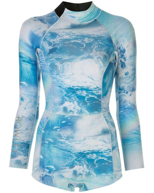 Cynthia Rowley プリント ウェットスーツ Blue