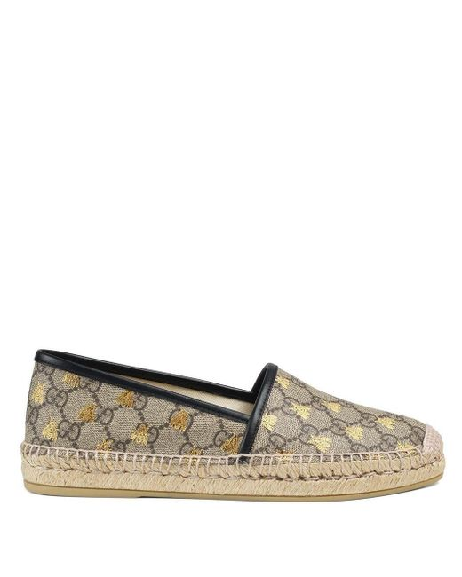 Gucci GG Supreme Bijen Espadrille in het Brown