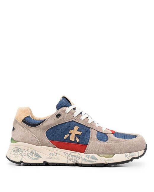 Premiata Blue Mase Low-top Panelled Sneakers for men