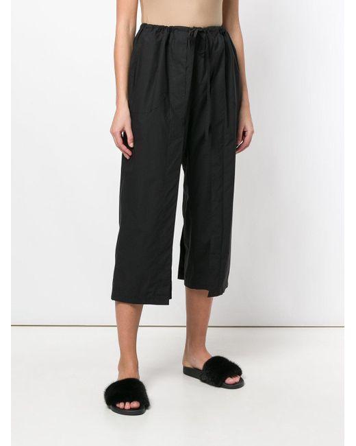 AALTO Black Wide Leg Cropped Trousers