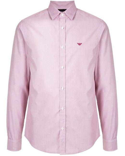 Рубашка С Вышитым Логотипом Emporio Armani для него, цвет: Pink
