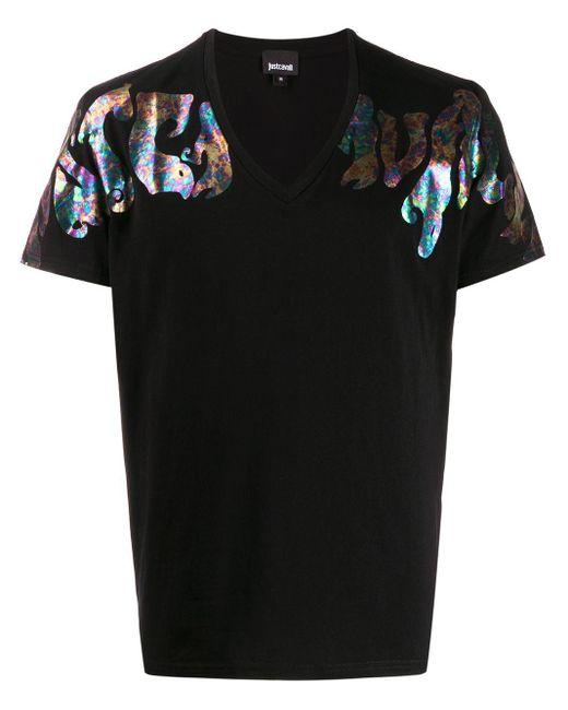 メンズ Just Cavalli ロゴ Tシャツ Black