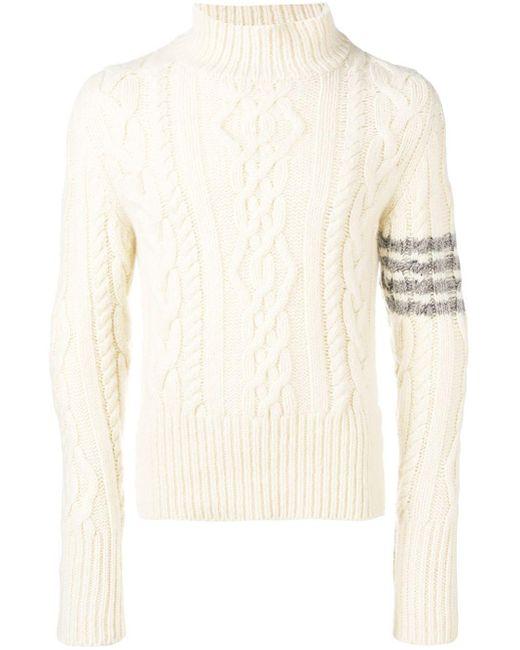 メンズ Thom Browne カシミア タートルネックセーター White
