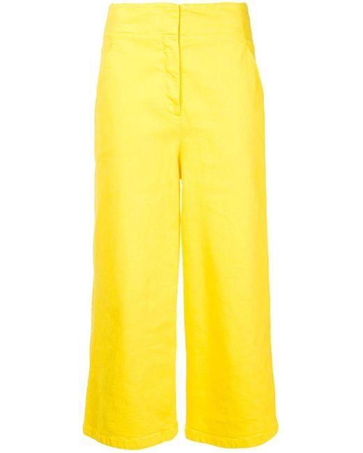 Tibi Cropped Wide-leg Jeans Yellow