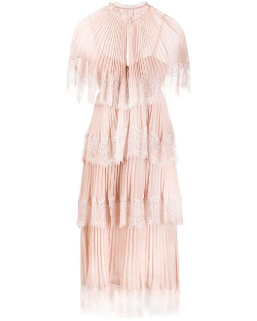 Self-Portrait Pink Lace-trimmed Tiered Dress