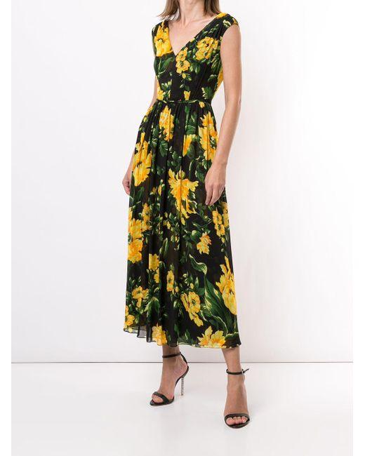 Carolina Herrera フローラル ドレス Yellow