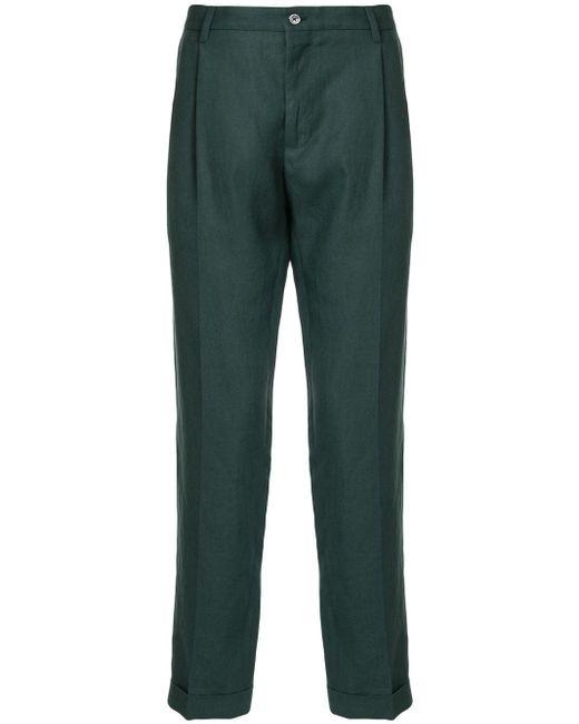 Dolce & Gabbana Green Straight-leg Linen Trousers for men