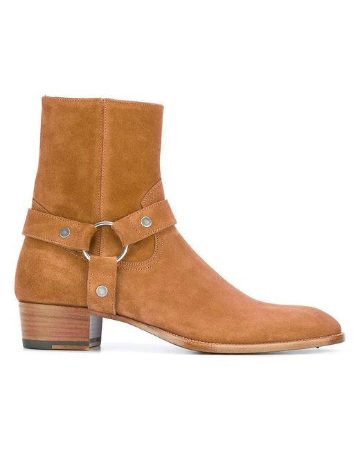Saint Laurent   Brown Signature Wyatt 40 Harness Boots for Men   Lyst