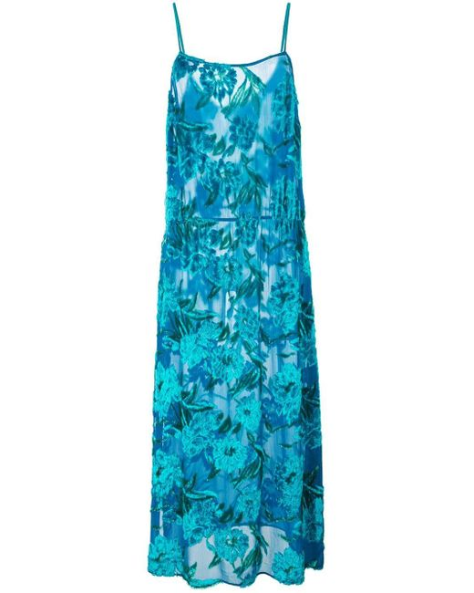 Fleur du Mal フローラル スリップドレス Blue