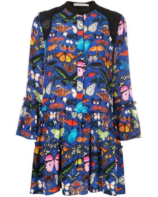 Mary Katrantzou Shalini バタフライ プリント ドレス Blue