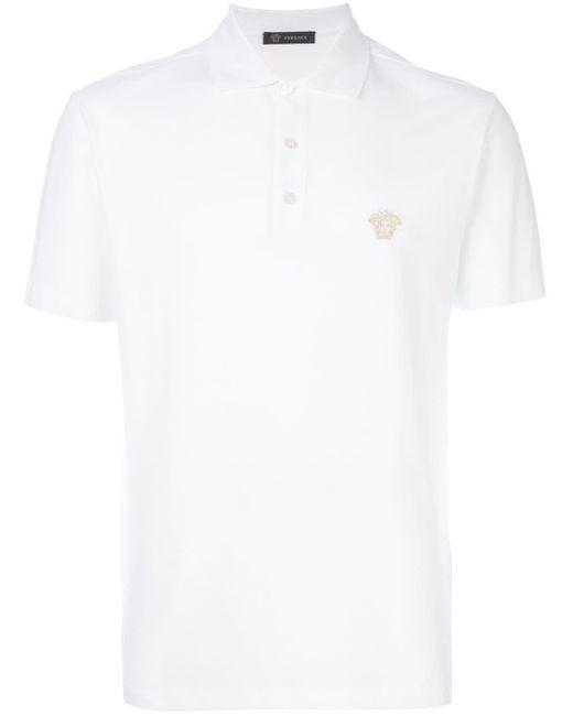 メンズ Versace メデューサ刺繍 ポロシャツ White