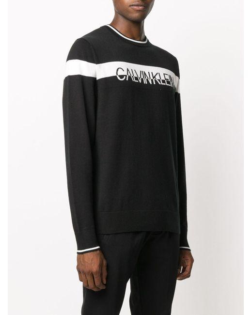 メンズ Calvin Klein ロゴ プルオーバー Black