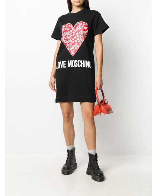 Love Moschino ハートプリント Tシャツワンピース Black