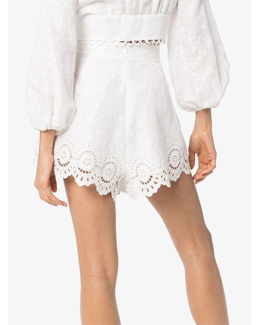 Zimmermann Bellitude スカラップ ショートパンツ White