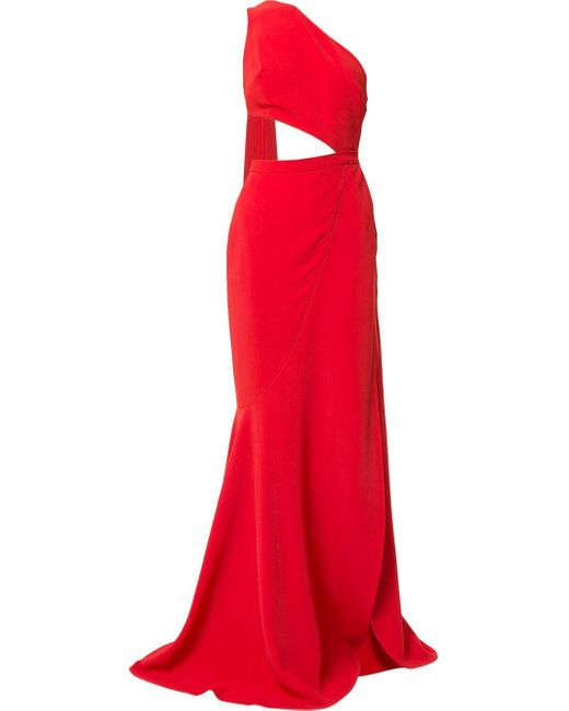 Elie Saab Cut-out High Slit Gown With Back Sash Red