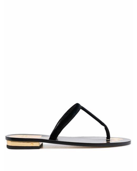 Laurence Dacade Black Metallic-effect Leather Sandals