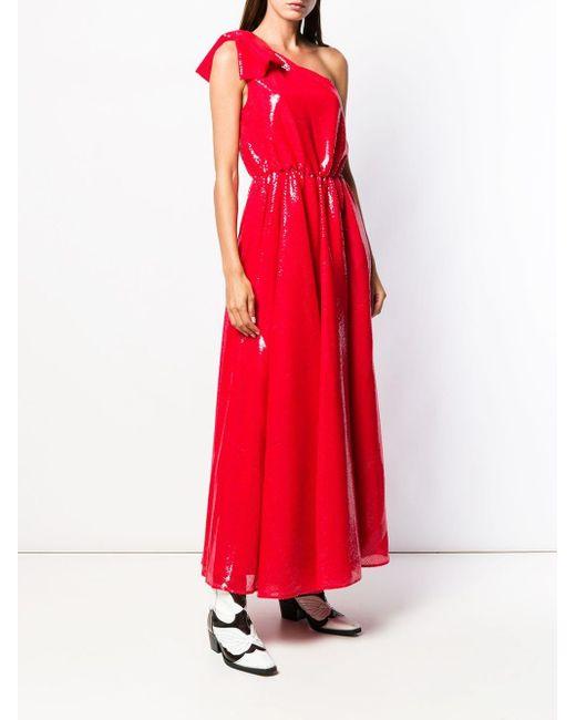 MSGM ワンショルダー ドレス Red