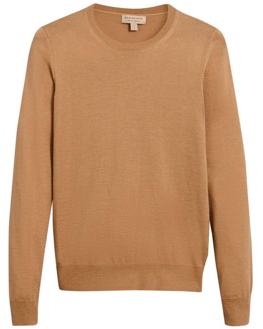 Burberry - Brown Check Detail Sweater - Lyst
