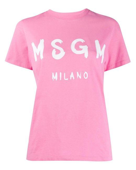 MSGM ロゴ Tシャツ Pink