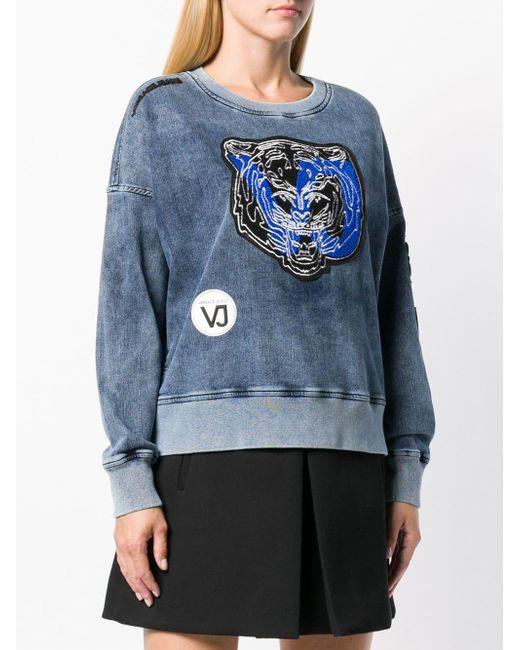 Versace Jeans Blue Tiger Patch Applique Washed Sweatshirt