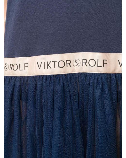 Платье-футболка Из Тюля С Оборками Viktor & Rolf, цвет: Blue