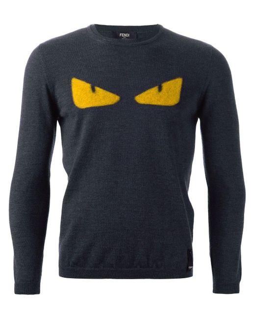 Fendi Gray 'bag Bugs' Sweater for men