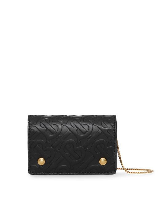 Burberry Black Monogram Leather Card Case With Detachable Strap