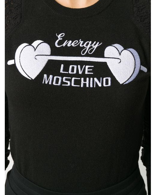 Джемпер С Вышитым Логотипом И Сетчатыми Рукавами Love Moschino, цвет: Black