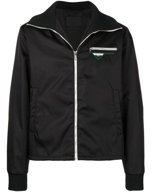 メンズ Prada ロゴパッチ ジップジャケット Black