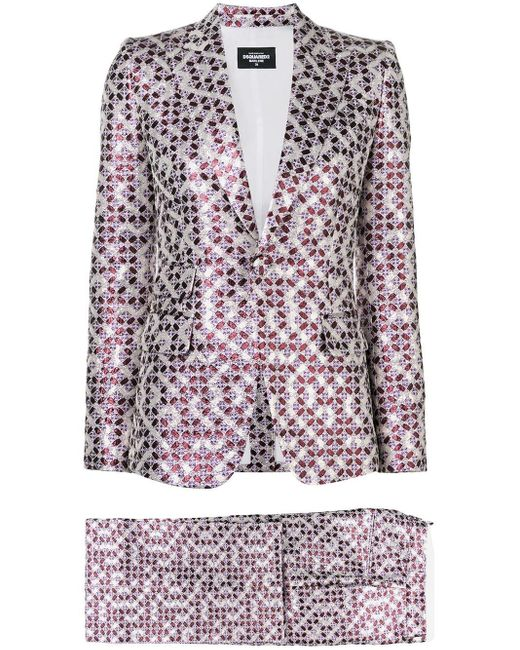 DSquared² Pink Patterned Two-piece Suit