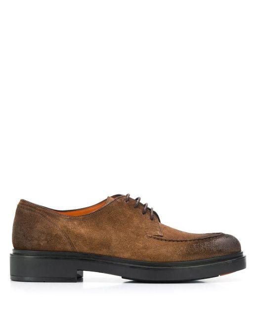 Туфли На Шнуровке Santoni для него, цвет: Brown