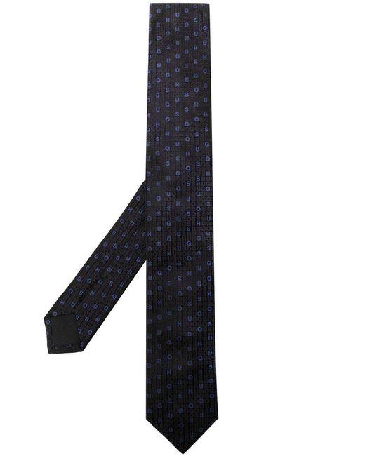 BOSS - Blue Logo Pattern Tie for Men - Lyst