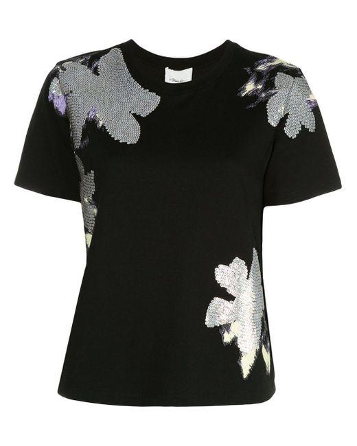3.1 Phillip Lim Daisy デコラティブ Tシャツ Black