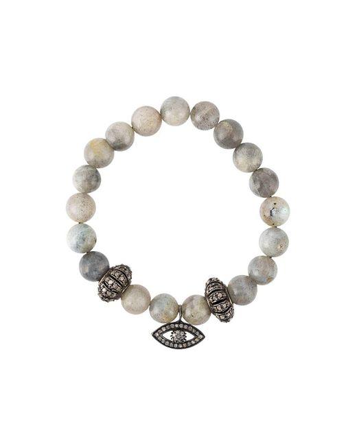 Gemco Gray Bead Diamond Charm Bracelet