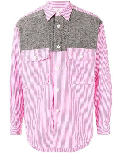 メンズ Tomorrowland ニットパネル シャツ Pink