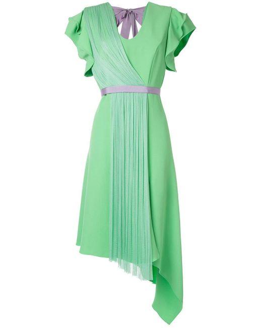 Vestido asimétrico con detalle plisado Delpozo de color Green