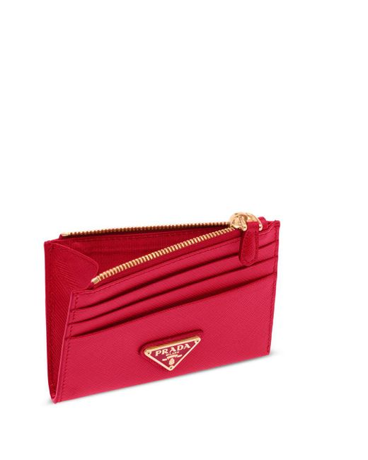 Portacarte con placca logo di Prada in Red