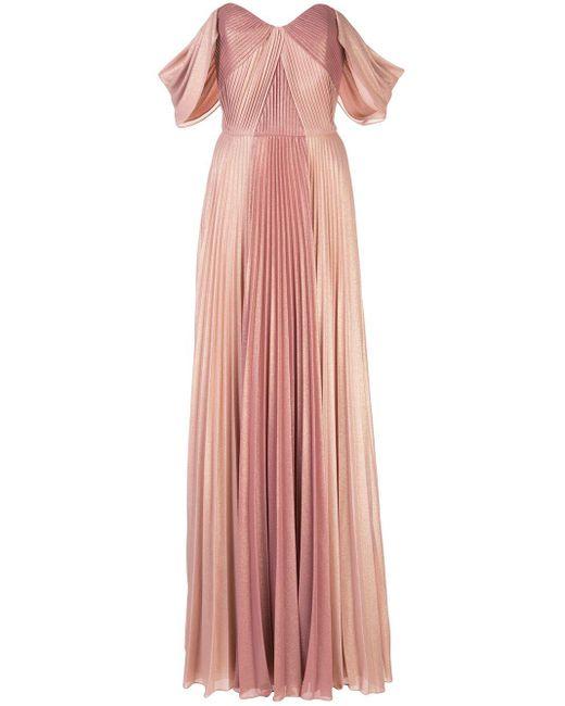 Marchesa notte プリーツ イブニングドレス Pink