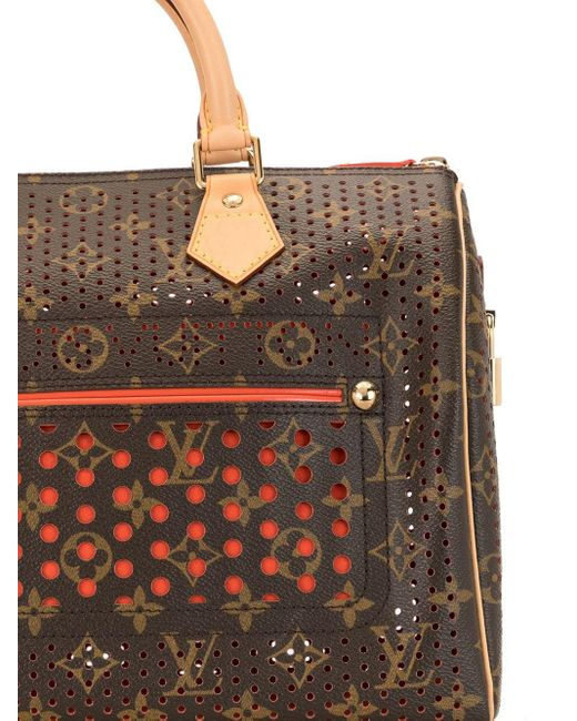 Louis Vuitton 2006 プレオウンド パーフォレーテッド スピーディ 30 ハンドバッグ Brown