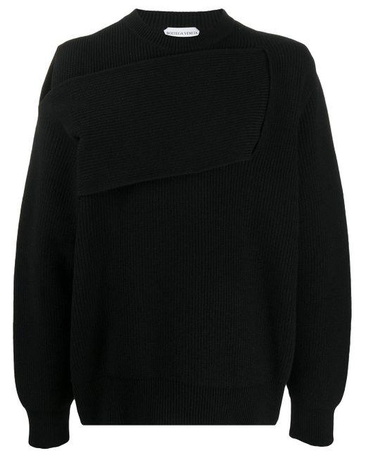 メンズ Bottega Veneta デコンストラクテッド セーター Black