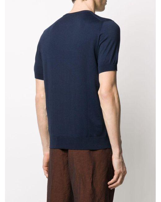 メンズ Fedeli クルーネック Tシャツ Blue