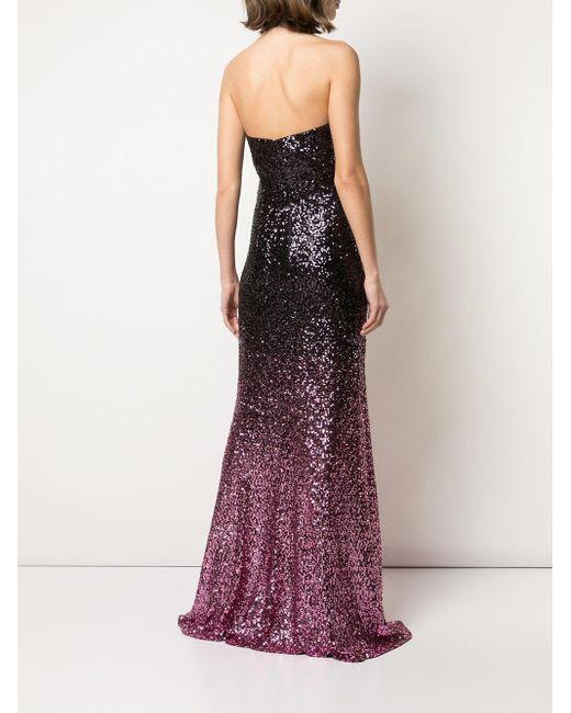 Marchesa notte スパンコール ホルターネックドレス Purple
