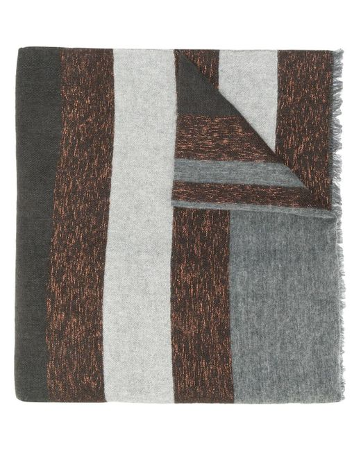 Brunello Cucinelli Striped Knitted Scarf in het Gray