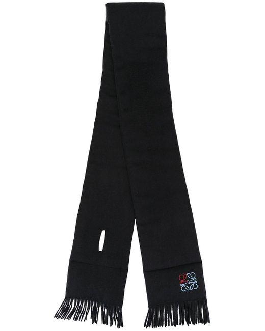 Loewe ロゴ カシミアスカーフ Black