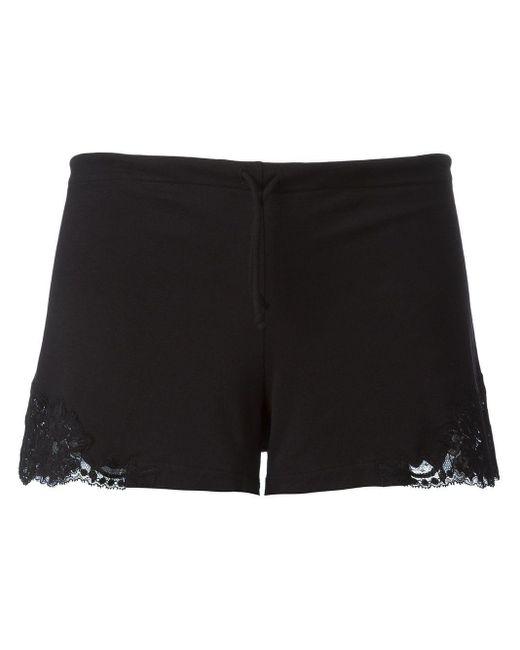La Perla Black Lace-inset Straight-leg Shorts