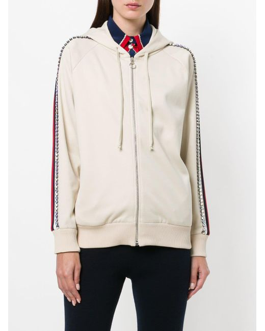 173eac76f94 Lyst - Gucci Crystal Embroidered Zipped Sweatshirt in Natural - Save 38%