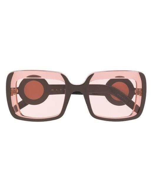 Marni Multicolor Clear Square Frame Sunglasses