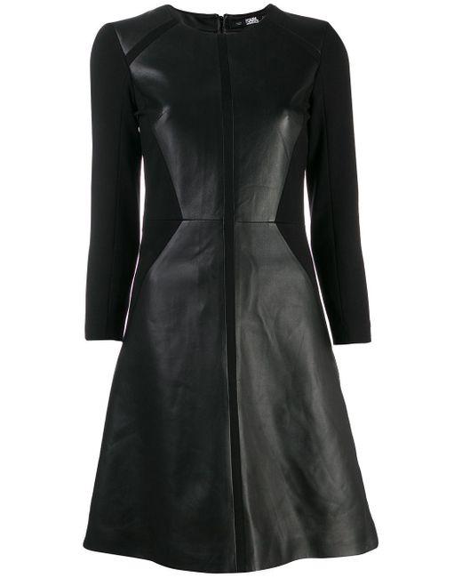Karl Lagerfeld レザー パネル ドレス Black